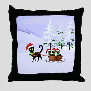 Cute Xmas kittens on a sleigh Throw Pillow