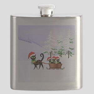 Cute Xmas kittens on a sleigh Flask