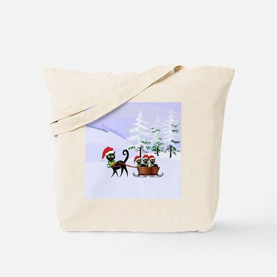 Cute Xmas kittens on a sleigh Tote Bag
