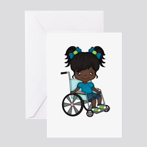 Handicapped child greeting cards cafepress girl in wheelchair african american greeting car m4hsunfo Choice Image