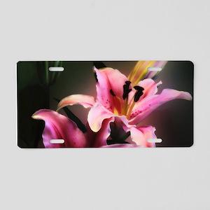 Pink Stargazer Lily Aluminum License Plate