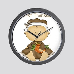My First Thanksgiving - Baby Girl Wall Clock