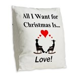 Christmas Love Burlap Throw Pillow