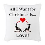 Christmas Love Woven Throw Pillow
