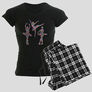 Geometric Pattern Ballerinas Women's Dark Pajamas