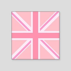 Union Jack/Flag Square Design Pinks Sticker
