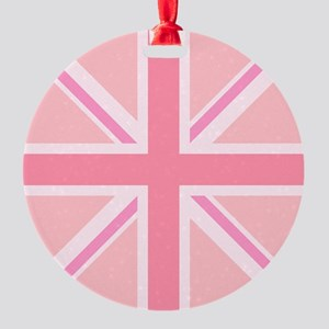 Union Jack/Flag Square Design Pinks Round Ornament