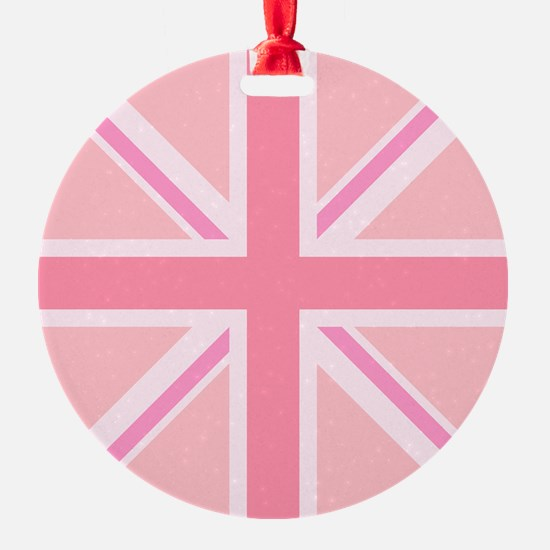 Union Jack/Flag Square Design Pinks Ornament