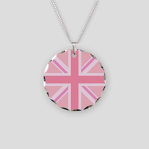 Union Jack/flag Pinks Circl Necklace Circle Charm