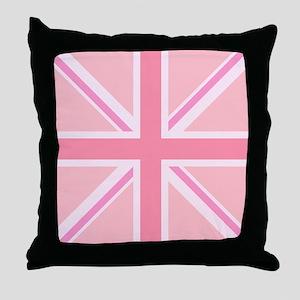 Union Jack/Flag Square Design Pinks Throw Pillow