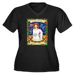 Lady Aries Women's Plus Size V-Neck Dark T-Shirt