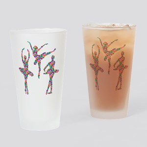 Geometric Pattern Ballerinas Drinking Glass