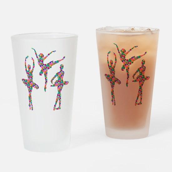 Geometric Pattern Ballerinas Drinking Glass