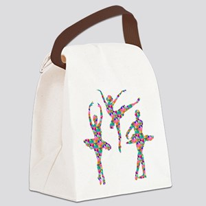 Geometric Pattern Ballerinas Canvas Lunch Bag