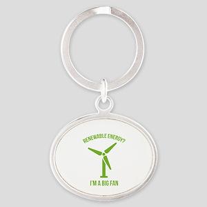 Renewable Energy Oval Keychain