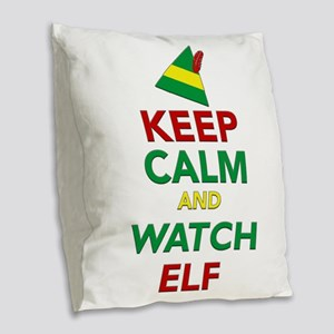 Keep Calm Elf Movie Original Burlap Throw Pillow