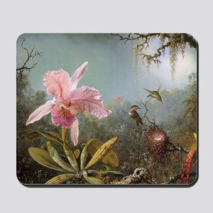 Orchid and Three Hummingbirds Mousepad