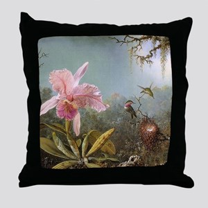 Orchid and Three Hummingbirds Throw Pillow