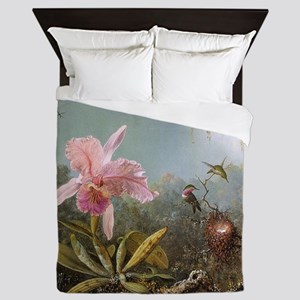 Orchid and Three Hummingbirds Queen Duvet