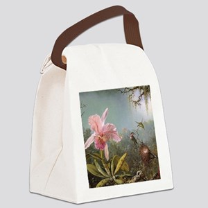 Orchid and Three Hummingbirds Canvas Lunch Bag