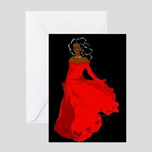 Red Dress Greeting Cards