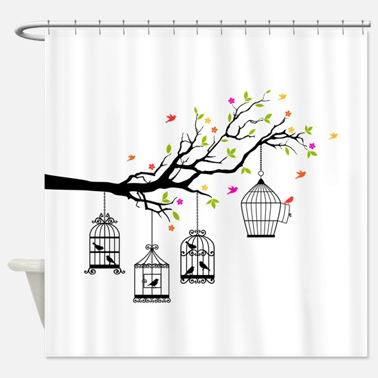 Birds and birdcages Shower Curtain