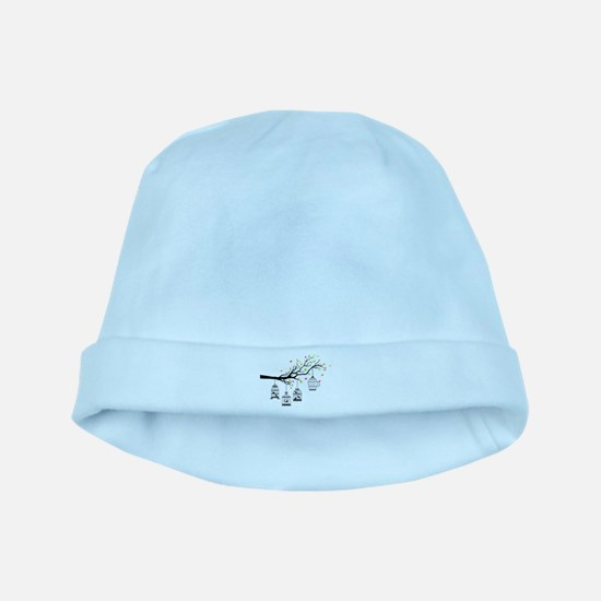Birds and birdcages baby hat