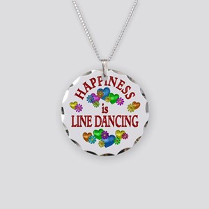 Happiness is Line Dancing Necklace Circle Charm