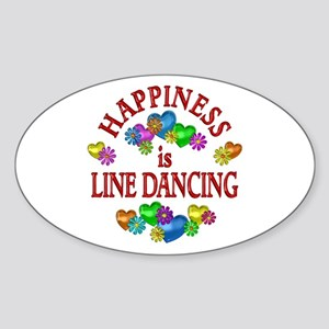 Happiness is Line Dancing Sticker (Oval)