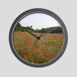 Strolling Among Poppies Wall Clock
