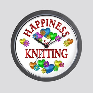 Happiness is Knitting Wall Clock
