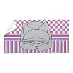 Sleeping Gray Cat Pink Pattern Beach Towel