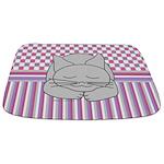 Sleeping Gray Cat Pink Pattern Bathmat