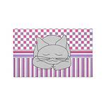 Sleeping Gray Cat Pink Pattern 3'x5' Area Rug