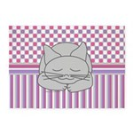 Sleeping Gray Cat Pink Pattern 5'x7'Area Rug