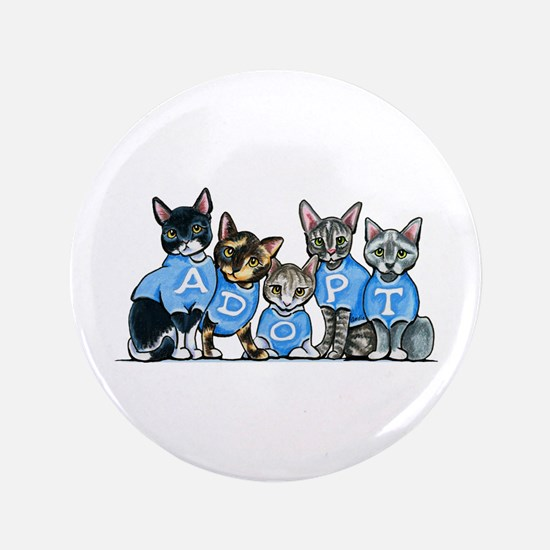 """Adopt Shelter Cats 3.5"""" Button"""