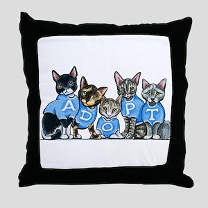 Adopt Shelter Cats Throw Pillow