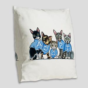 Adopt Shelter Cats Burlap Throw Pillow