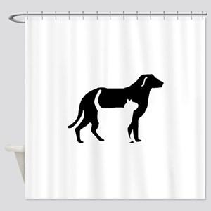 Cat And Dog Silhouette Shower Curtain
