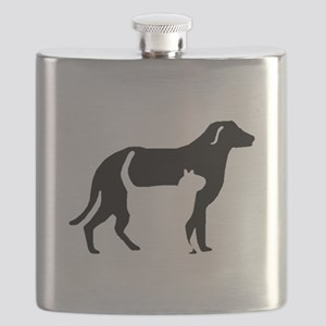 Cat And Dog Silhouette Flask