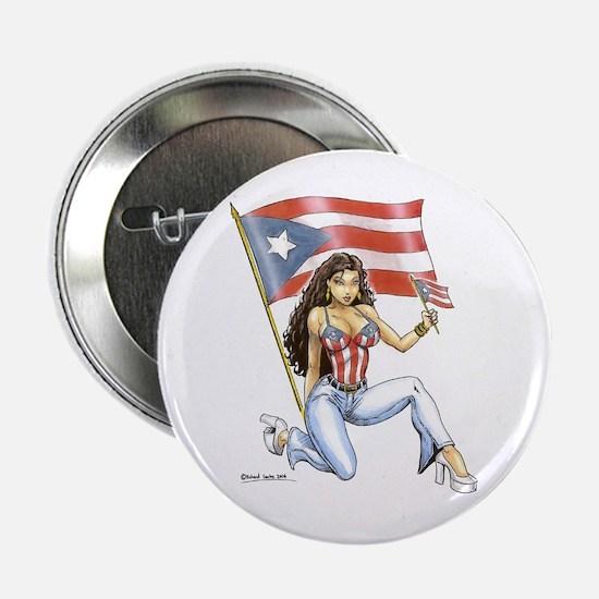 Boricua Flag Girl Button