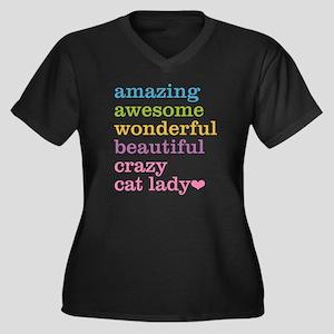 Crazy Cat La Women's Plus Size V-Neck Dark T-Shirt
