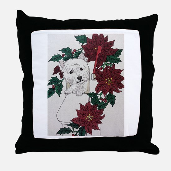Westie Holiday Delivery Throw Pillow