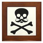 Skull with Mustache Framed Tile