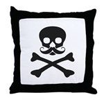 Skull with Mustache Throw Pillow