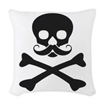Skull with Mustache Woven Throw Pillow