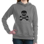 Skull with Mustache Women's Hooded Sweatshirt