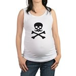 Skull with Mustache Maternity Tank Top
