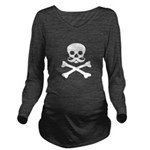 Skull with Mustache Long Sleeve Maternity T-Shirt