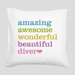 Amazing Diver Square Canvas Pillow